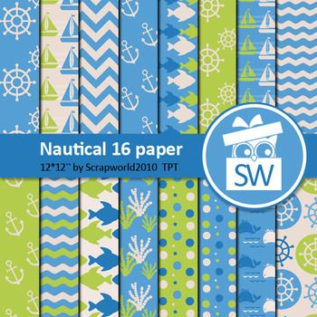 Nautical paper pack includes16 digital paper size 12 by 12 inch 300dpilet me know if you need another size (A4)