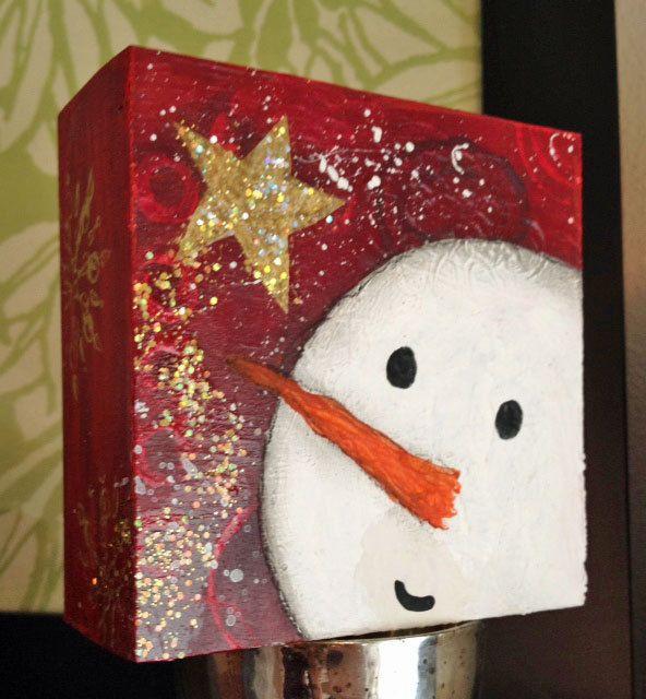 Snowman, Christmas Decor Art, Whimsical Winter 4x4 Original Painting Woodblock, Star, Snow. $24.00, via Etsy.