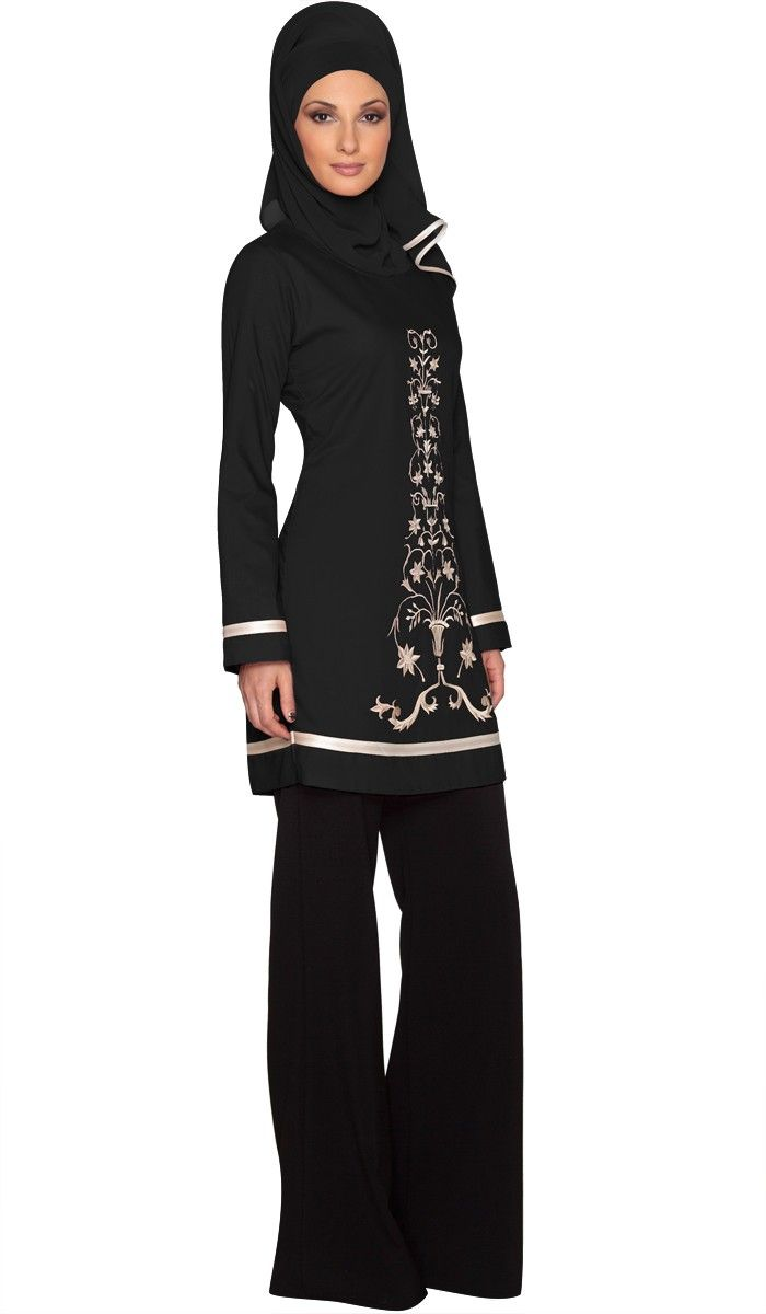 Isabel Black Floral Embroidered Long Tunic | Islamic Clothing for Women | Islamic Clothing at Artizara.com
