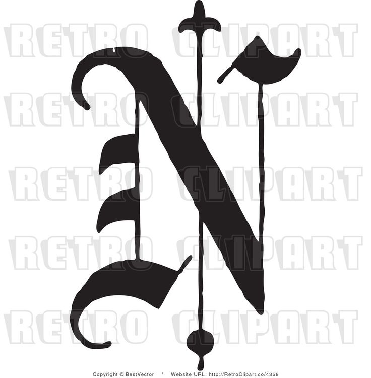 royalty free retro old english abc letter n