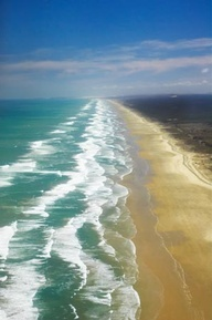 90 mile beach, Northland, New Zealand. The coast shorn by the great tsunami of around 1400.