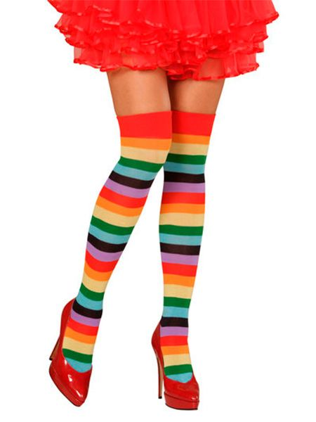 Rainbow Socks. A fun rainbow Pride Accessory also ideal for an 80's, 90's or Circus Fancy Dress Accessory. http://www.novelties-direct.co.uk/rainbow-socks-thigh-highs.html