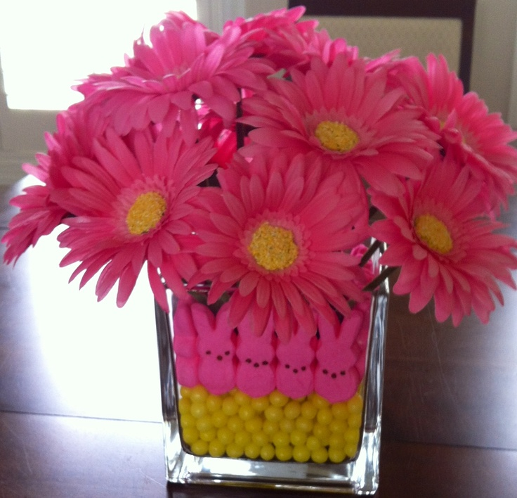 """Easy Easter arrangement.  Peeps, lemon heads, and inside 4"""" vase from dollar store.  6"""" square vase and 2 bunches of silk Gerber Daisies from Michaels."""
