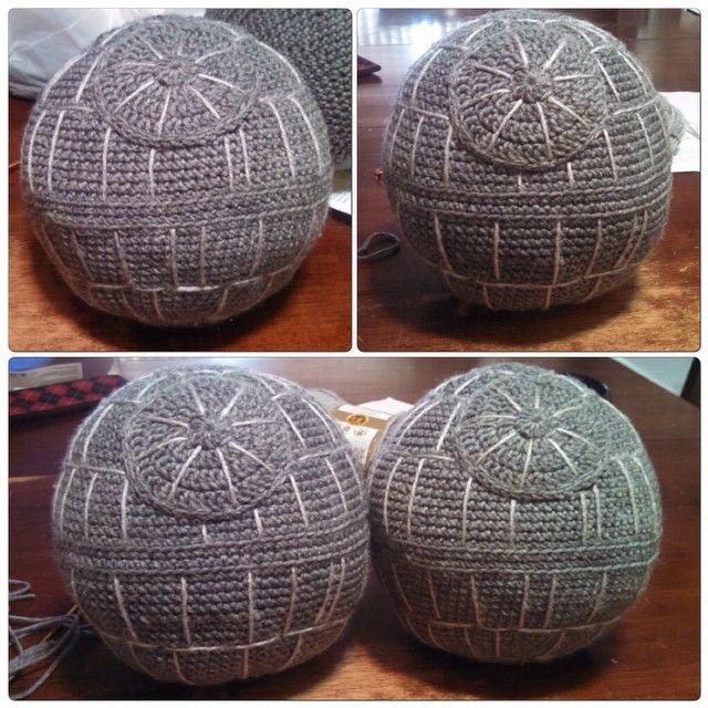Crochet Death Star Throw Pillow: these are the droids you're looking for! Get yours handmade by The NorthWesternBelle in 3 to 5 business days and free shipping! I'll take your order via pinterest, etsy, instagram, facebook, twitter or email! Every Star Wars nerd needs one. Darth Vader approved.