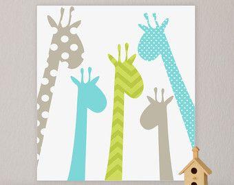 Giraf met kinder kunst aan de muur kinderkamer door FieldandFlower