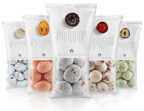 """Wonderfully minimal packaging allows the beauty of Hatziyiannakis' 'pebbles' - round candy with a core of juicy fruit or nuts and bitter chocolate covered with a thin sugar coating - to shine. The """"interior view"""" (haha) is helpful and enticing. Designed by Mousegraphics."""