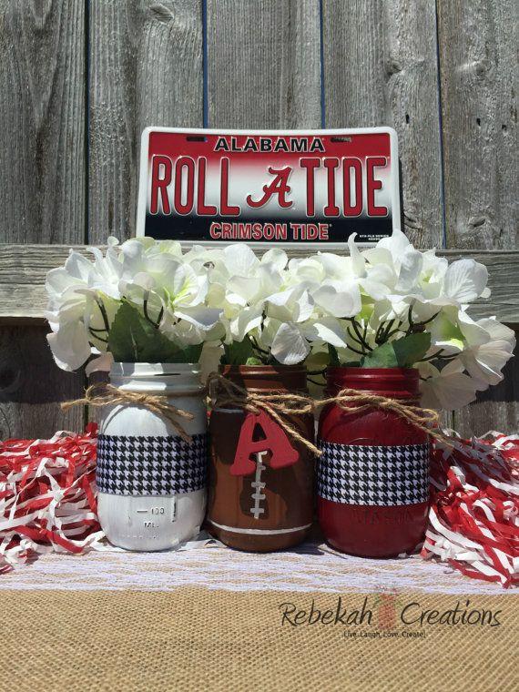 University of Alabama Mason Jars Alabama Dorm by RebekahCreations