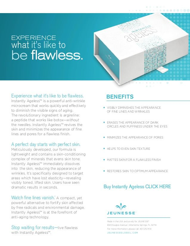 The new 2015 Instantly Ageless by Jeunesse product sheet. http://www.instantjeunesse.com/instantly-ageless-jeunesse-review/
