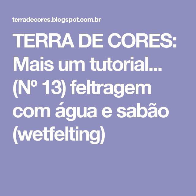 TERRA DE CORES: Mais um tutorial... (Nº 13)  feltragem com água e sabão (wetfelting)