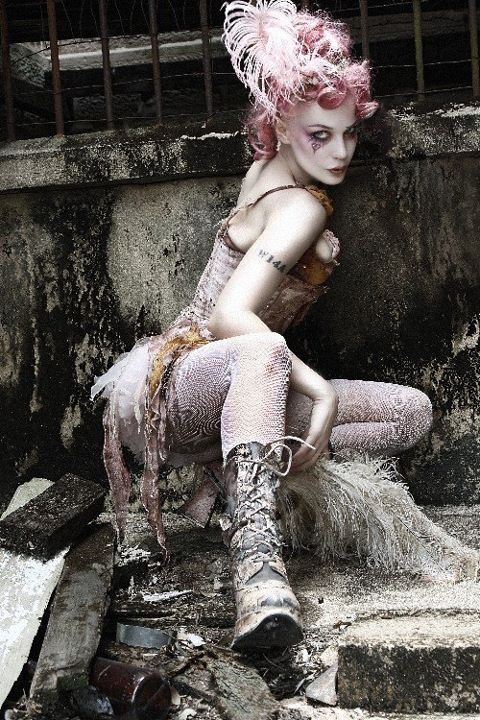 Emilie Autumn - wow. Steampunk | female | model | girl | chick | makeup | costume | culture | clock | goth | gothic | lady | woman | clothed | nude | cyber
