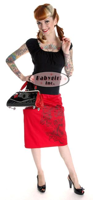 rockabilly clothes | Mode Merr Clothing Red Dragon 1950 s Pencil Skirt - Stylehive