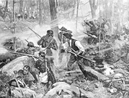 """Battle of Kings Mountain - Scots-Irish - """"Their uniforms were buckskin shirts or homemade linen blouses, belted at the waist and reaching to their knees...they carried their own bedrolls, rations, and ammunition.  And they brought their own well-tended and accurate long rifles, for which many of them were famed.""""  (The Redcoats traveled with a supply train of 17 wagons.) """"The over-mountain men had not merely defeated the Redcoats, they had totally destroyed them."""" (Born Fighting, Jim Webb)"""