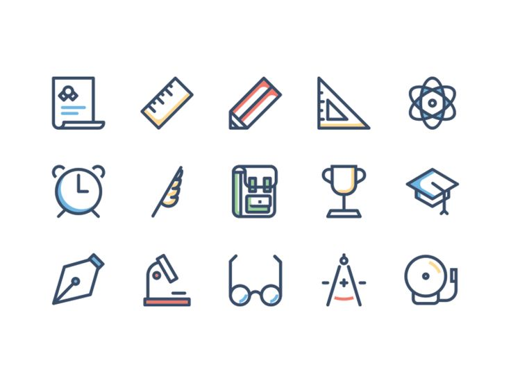 Free School Icon Set Icons AI Education Free Graphic Design Icon PSD Resource School Vector