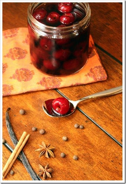 Good recipe for canning cherries with Brandy or other alcohol via foodiemisadventures.com