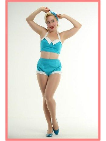 Turquoise Two Piece Vintage Style Pinup Girl Playsuit