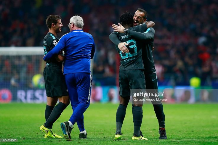 Michy Batshuayi of Chelsea celebrates victory with team mates during the UEFA Champions League group C match between Atletico Madrid and Chelsea FC at Estadio Wanda Metropolitano on September 27, 2017 in Madrid, Spain.
