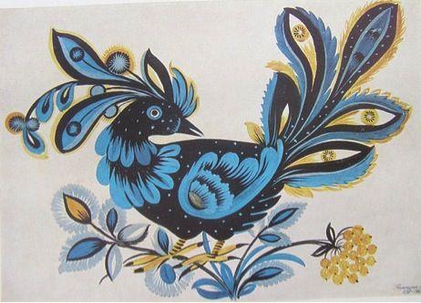 Ukrainian Petrykivka Art by Marfa Tymchenko. Black bird. 1963