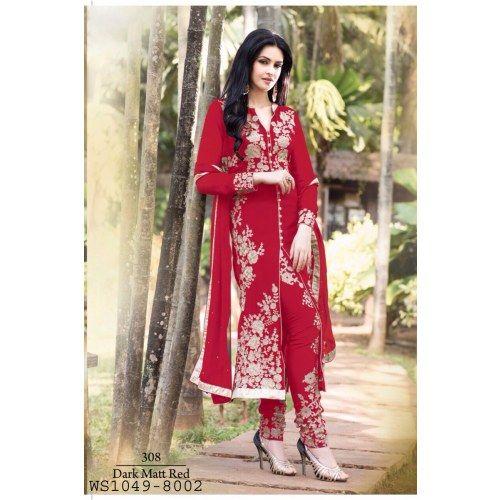 Designer Red Heavy Embroidered Georgette Salwar Kameez