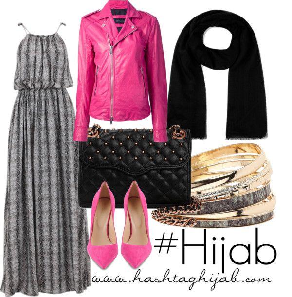 Grey printed dress, pink leather jacket, black scarf, pink shoes, gold and grey bracelets