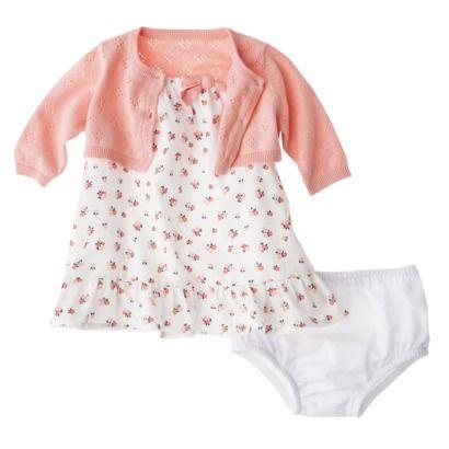 Cherokee newborn infant girls 3pc floral dress set