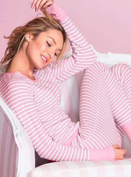 The Fireside Long Jane Pajama | pink and white stripes #victoriassecret