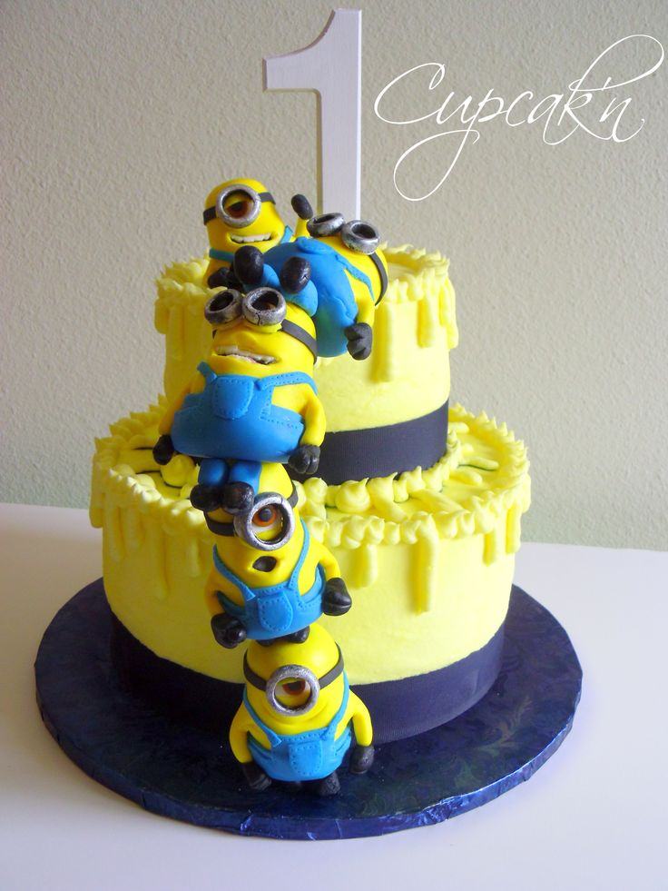Birthday Cakes - Despicable Me cake with stacked MMF minions.