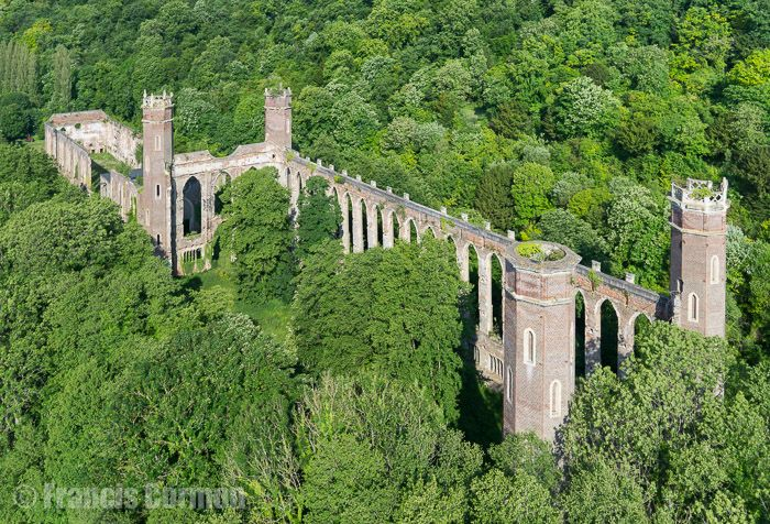 France, Haute-Normandie, Eure (27), vallée de l'Andelle, Pont-Saint-Pierre, Filature Cathédrale de Fontaine Guérard (vue aérienne)
