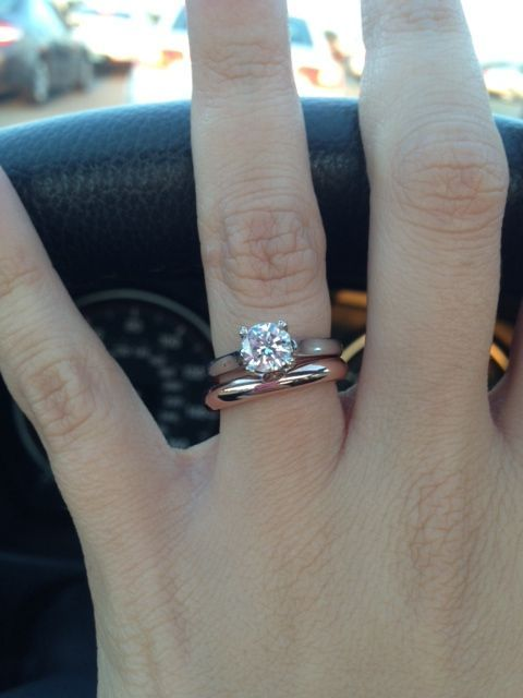White Gold Solitaire With Plain Rose Wedding Band