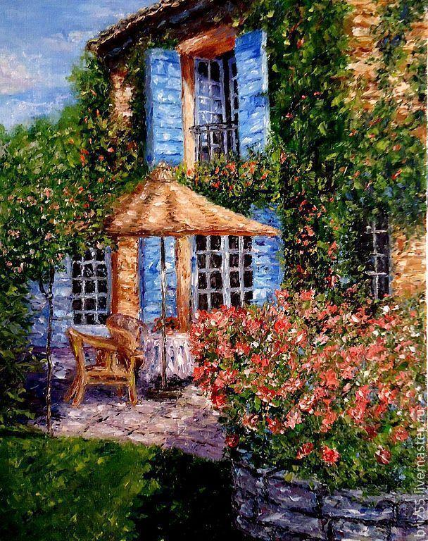 Купить Картина маслом Уютный дворик - зелёный, картина маслом, дворик, тень, солнечный день