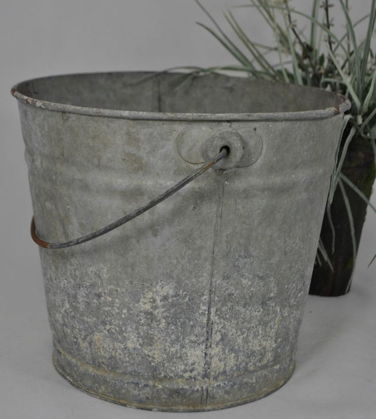 Old vintage galvanized metal milking pail 10 j l bucket for How to decorate a bucket