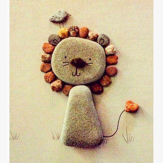 Cute pebble art lion available @textures_craftworks #genderneutralnursery #genderneutralbabygift #kidsroomdecor #kidsroomart #pebbleart #pebbleartlion #lion #lionart #cutelion #nurserydecor #animalthemednursery #animalnursery #pebblelion
