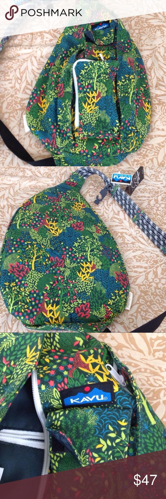 Kavu Fall Garden Rope Bag Kavu Fall Garden Rope Bag.  Brand new with tag still attached.  Great for teens, moms and women on the go.  Lightweight, lots of pockets and adjustable strap. Kavu Bags Backpacks