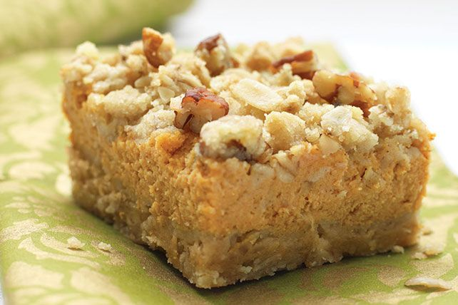 Crunchy oat-nut crust, cream cheese in the filling and sweet crumbs combine to take pumpkin pie to a new and even more delicious level.