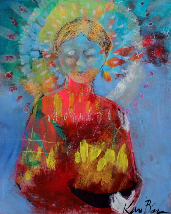 Angel Painting Small Spirit Guide Icon by kerriblackmanfineart