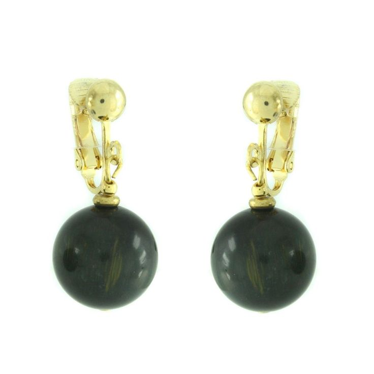 Lee Sands Gold Over Blue Tigers Eye Non Pierced Earrings 098D #LeeSands #DropDangle #qvcx