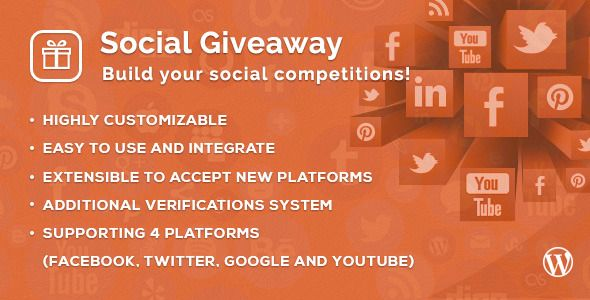 Social Giveaway WordPress Plugin   http://codecanyon.net/item/social-giveaway-wordpress-plugin/7668339?ref=damiamio      Back-office (wp admin) demo Login page.   username: demo password: demo   About Social Giveaway Social Giveaway is a wordpress plugin that let you create your own social competition, You can simply set a number of steps that the visitors of your website should complete to get the chance of winning the giveaway, The steps you provide can contain any social activity…