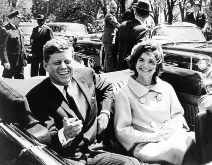 03 May 1961 President and Mrs. Kennedy following arrival ceremonies for H. E. Habib Bourguiba, President of Tunisia. Washington, D. C., Blair House. Photograph by Abbie Rowe, National Park Service, in the John F. Kennedy Presidential Library and Museum, Boston.