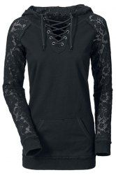Lace Splicing Lace-Up Long Sleeve Stylish Hoodie For Women (BLACK,L) | Sammydress.com Mobile