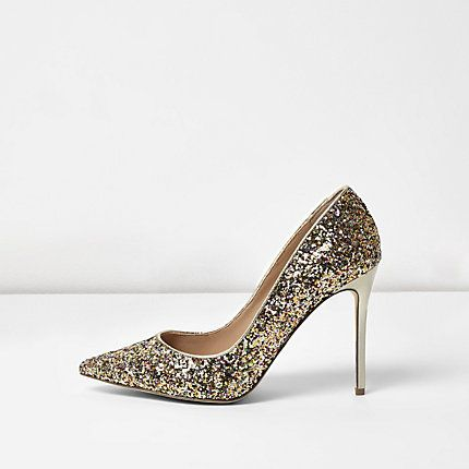 Gold glitter wide fit court shoes £35.00