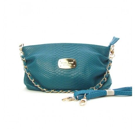 70% Off Didcount Michael Kors Large Python-Embossed Clutch CadetBlue
