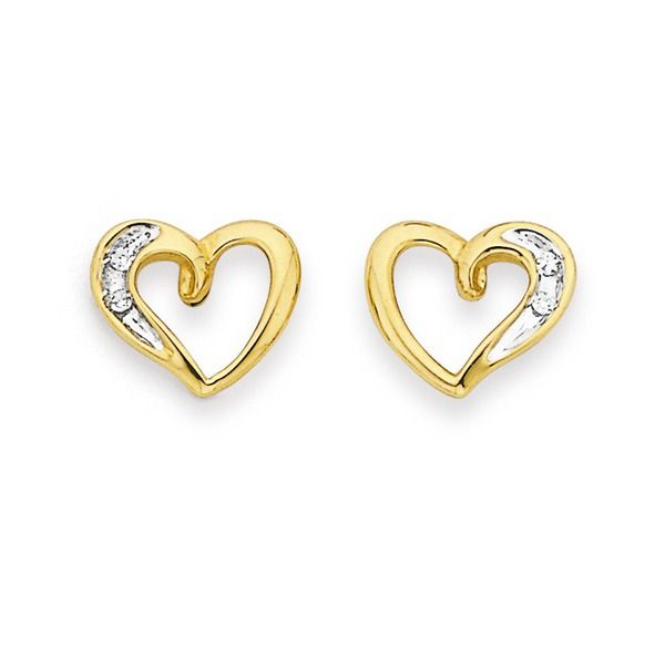 9ct Diamond Heart Studs