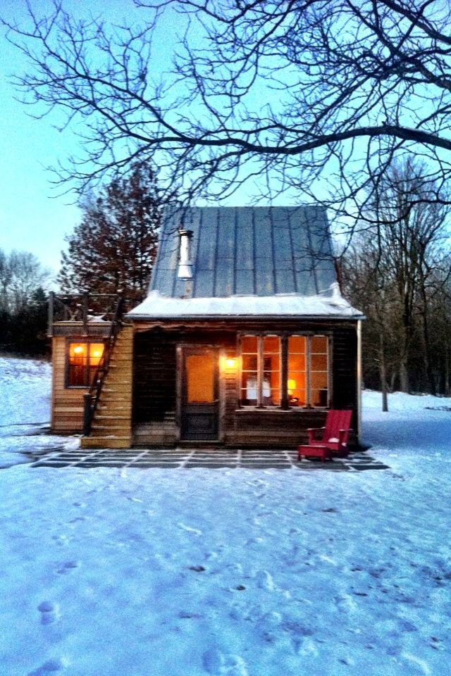 Small cabin in the winter