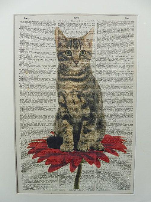 Cat Wall Art Print No.22 tabby cat cat poster by DecorisDesigns