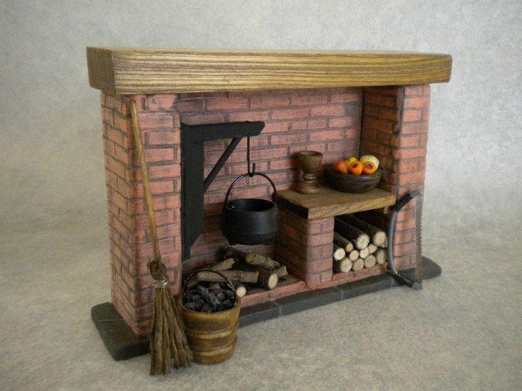 Dollshouse Fireplace Red Brick Colonial Tudor