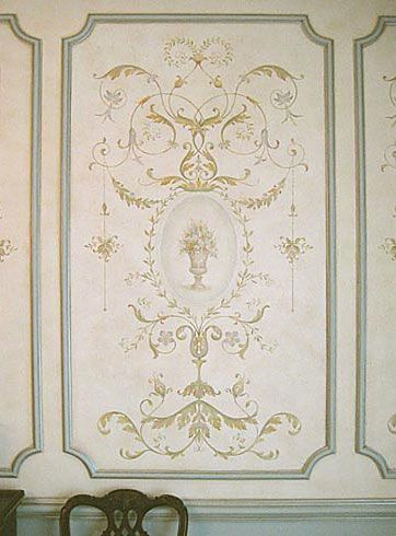 """French Panel Series Decorative Stencils: The Versailles Grand Panel Stencil LARGE: Sheet size: 25.5x47"""" Design measures 23x45"""" SMALL: Sheet size: 22x40"""" ** Features classic elegance combined with an amazing level of detail. Curved elegant lines, acanthus leaves and various florals highlight this classic stencil design. (Medallions etc sold separately) * Paint in traditional multi-color shading technique, or s single bold or iridescent metallic color. *use painters tape or spray adhesive"""