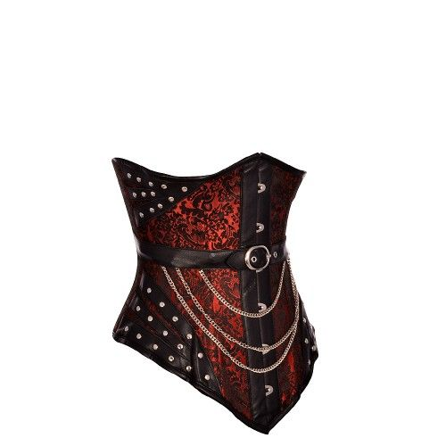 Black and Red Leather Look Underbust Corset