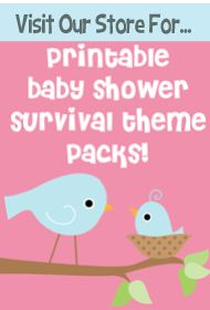 Printable baby shower survivor pack! Over a dozen baby shower printables - water bottle labels, candy bar wrappers, favor tags, games and more!!
