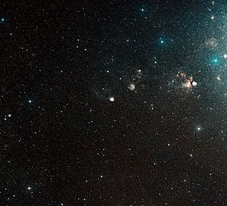 This image shows the area around N90 and is a colour composite made from Digitized Sky Survey 2 (DSS2) exposure. The field of view is 3.1x2.8 degrees. Name: N90, NGC 602 Type: Local Universe : Star : Grouping : Cluster Local Universe : Nebula : Type : Star Formation Distance: 200000 light years Constellation: Hydrus Category: Nebulae Star Clusters