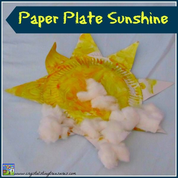 Paper Plate Sunshine Craft by Crystal's Tiny Treasures. Bring a little sunshine to a rainy day!