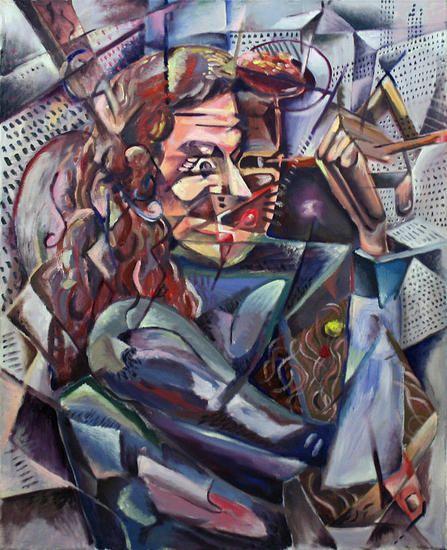 Carmen cubista pintando cubismo. Ignacio Egido Marcos
